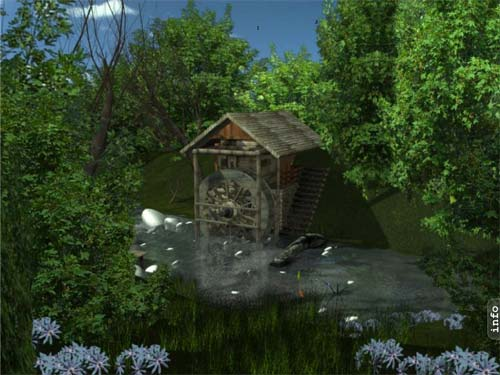 Ad water mill animated desktop wallpaper